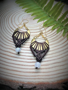 Moonlight Macrame Earrings ~ Rainbow Moonstones