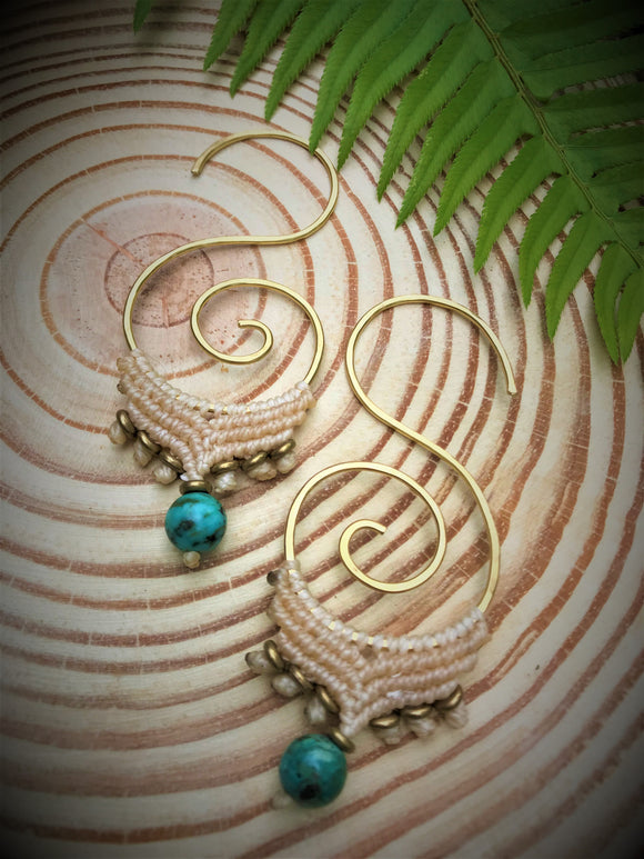 Koru Threader Earrings - Turquoise Gemstone - Tranquility