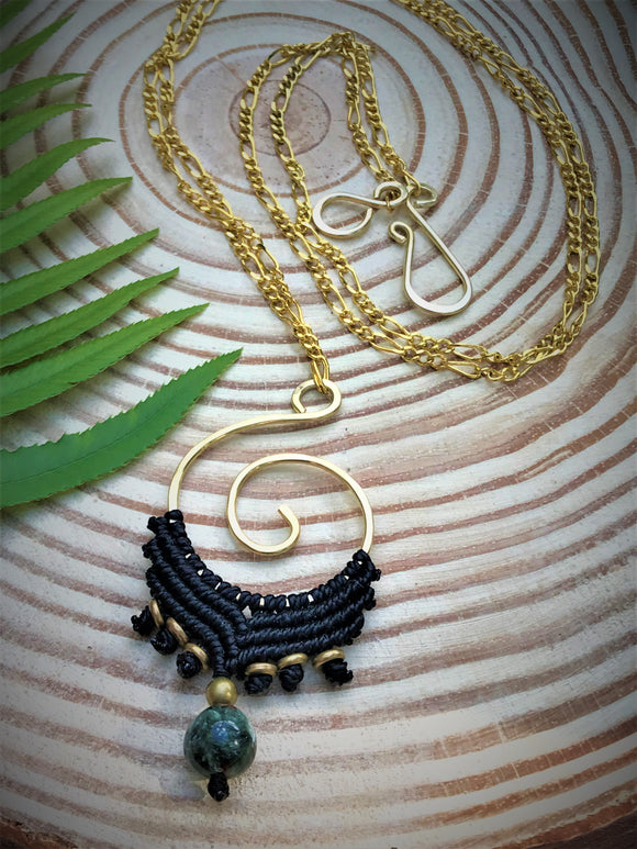Koru Necklace with Seraphinite Gemstone