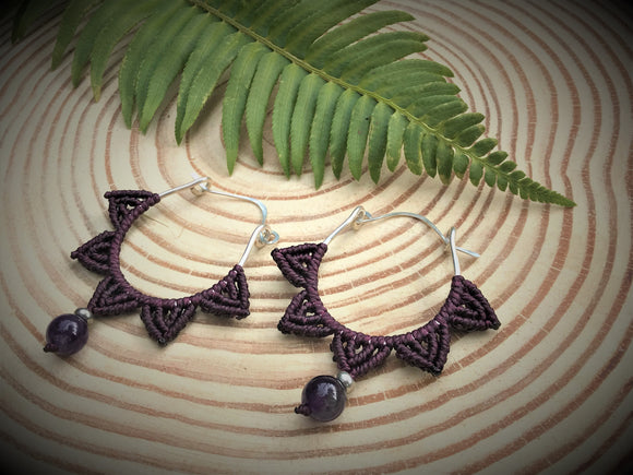 Lotus Macrame Earrings in Amethyst