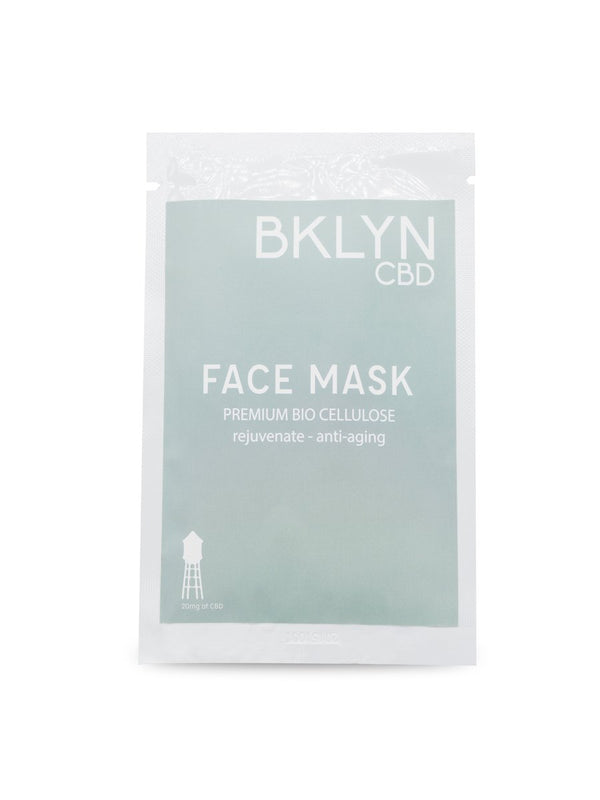 Anti-aging CBD Face Mask. Formulated with Bio cellulose fibers, Vitamin C and CBD  this face mask promotes a younger looking skin, only at BKLYN CBD. Free shipping.