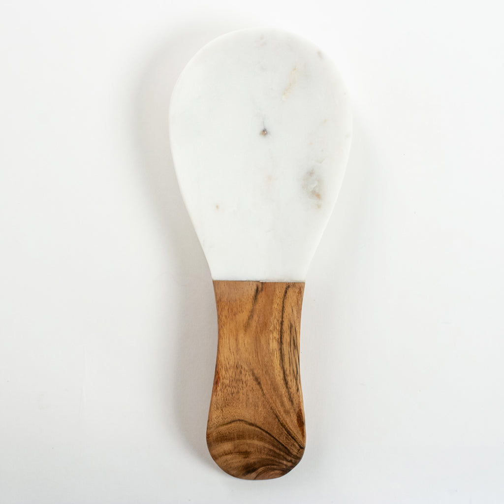 White Marble & Wood Spoon Rest