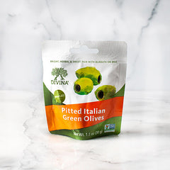 Pitted Italian Green Olives Snack Pack - igourmet