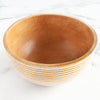 White Striped Mango Wood Bowl, Medium_Be Home_Housewares