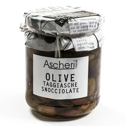 Pitted Taggiasche Olives in Olive Oil