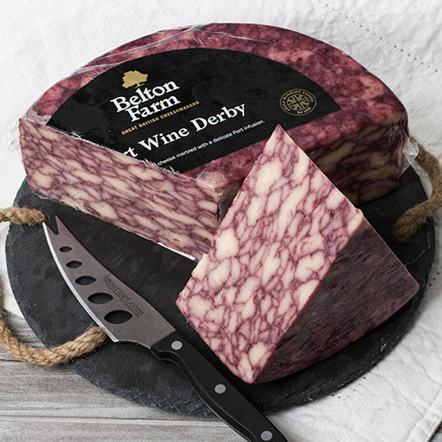 Belton Farm's Port Wine Derby Cheese