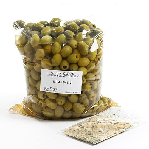 Green Pitted Olives with Minced Garlic Spice Kit