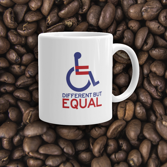 coffee mug different but equal disability logo equal rights discrimination prejudice ableism special needs awareness diversity wheelchair inclusion acceptance