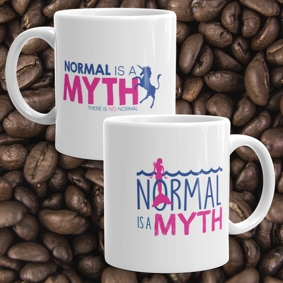 coffee mug normal is a myth mermaid unicorn peer pressure popularity disability special needs awareness inclusivity acceptance