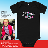 baby onesie babysuit bodysuit Different Does Not Equal Less Netflix's Raising Dion Esperanza Sammi Haney disability disabled wheelchair special needs