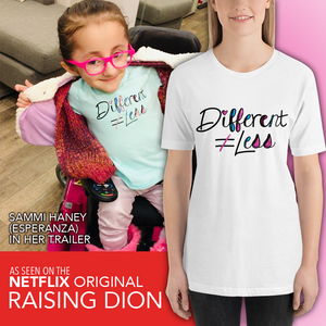 Netflix's Raising Dion Esperanza Sammi Haney Different Does Not Equal Less T-Shirt
