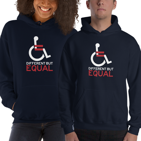 different but equal disability logo equal rights discrimination prejudice ableism special needs awareness diversity wheelchair inclusion acceptance