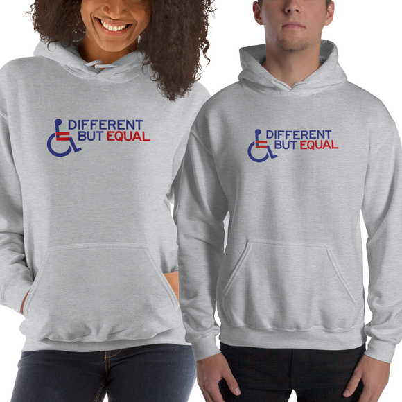 hoodie different but equal disability logo equal rights discrimination prejudice ableism special needs awareness diversity wheelchair inclusion acceptance