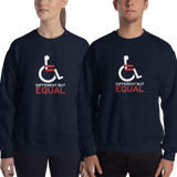 sweatshirt different but equal disability logo equal rights discrimination prejudice ableism special needs awareness diversity wheelchair inclusion acceptance