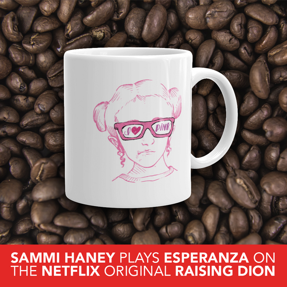 coffee mug I love Pink pink glasses love luv heart Raising Dion Esperanza fan Netflix Sammi Haney