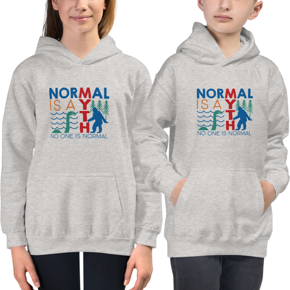 kids hoodie normal is a myth big foot loch ness lochness yeti sasquatch disability special needs awareness inclusivity acceptance activism