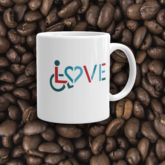 coffe mug showing love for the special needs community heart disability wheelchair diversity awareness acceptance disabilities inclusivity inclusion