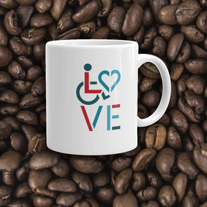 coffee cup showing love for the special needs community heart disability wheelchair diversity awareness acceptance disabilities inclusivity inclusion