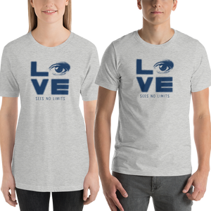 Shirt love sees no limits halftone eye luv heart disability special needs expectations future