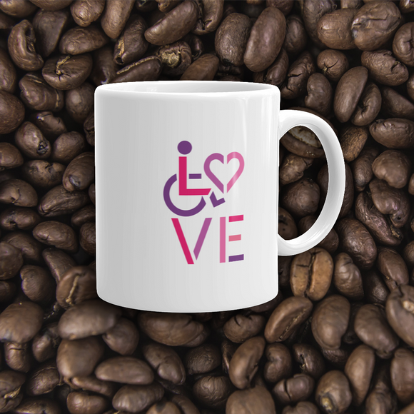 coffee mug showing love for the special needs community heart disability wheelchair diversity awareness acceptance disabilities inclusivity inclusion