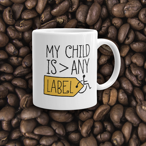 coffee mug Love Hates Labels disability special needs awareness diversity wheelchair inclusion inclusivity acceptance