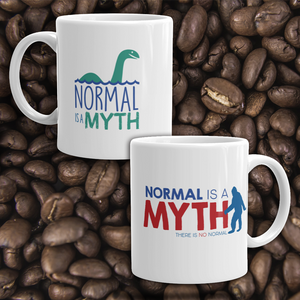 coffee mug normal is a myth big foot loch ness lochness yeti sasquatch disability special needs awareness inclusivity acceptance activism