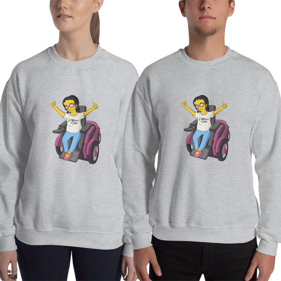 sweatshirt yellow cartoon drawing illustration of Esperanza in wheelchair from Raising Dion Netflix Sammi Haney sassy girl pink glasses fan disability osteogenesis imperfecta