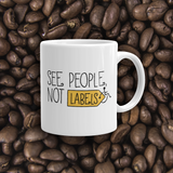 coffee mug people labels label disability special needs awareness diversity wheelchair inclusion inclusivity acceptance
