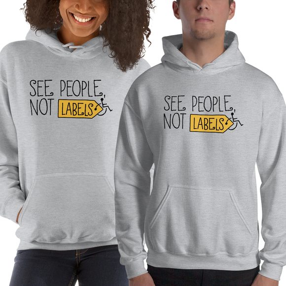 hoodie See people not labels label disability special needs awareness diversity wheelchair inclusion inclusivity acceptance
