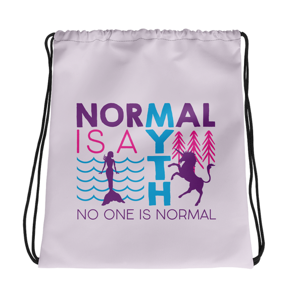 drawstring bag normal is a myth mermaid unicorn peer pressure popularity disability special needs awareness inclusivity acceptance