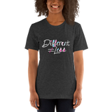 Different Does Not Equal Less (As Seen on Netflix's Raising Dion) Adult Dark Color Shirts with Digital Glitter