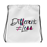 Different Does Not Equal Less (As Seen on Netflix's Raising Dion) White Drawstring Bag