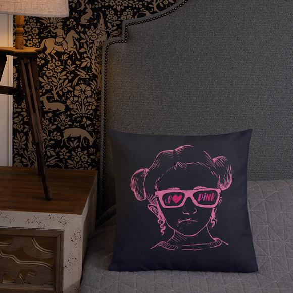pillow I love Pink pink glasses love luv heart Raising Dion Esperanza fan Netflix Sammi Haney