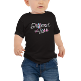 Different Does Not Equal Less (As Seen on Netflix's Raising Dion) Baby Black Shirt with Digital Glitter