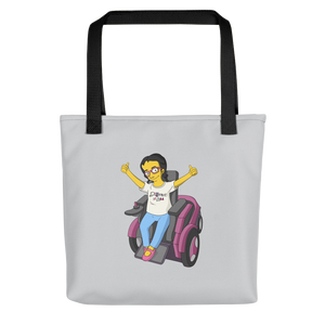tote bag yellow cartoon drawing illustration of Esperanza in wheelchair from Raising Dion Netflix Sammi Haney sassy girl pink glasses fan disability osteogenesis imperfecta