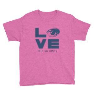 youth Shirt love sees no limits halftone eye luv heart disability special needs expectations future