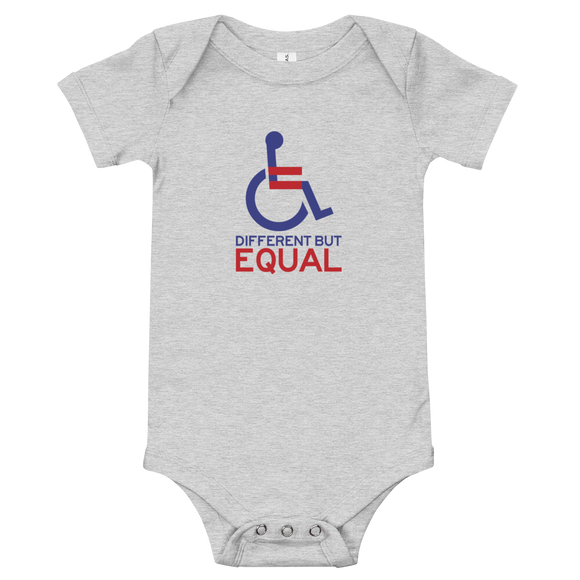 baby onesie babysuit bodysuit different but equal disability logo equal rights discrimination prejudice ableism special needs awareness diversity wheelchair inclusion acceptance