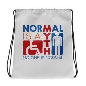 drawstring bag Normal is a myth sign icons people disabled handicapped able-bodied non-disabled popularity disability special needs