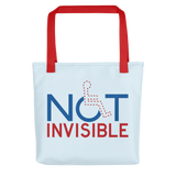 tote bag not invisible disabled disability special needs visible awareness diversity wheelchair inclusion inclusivity impaired acceptance