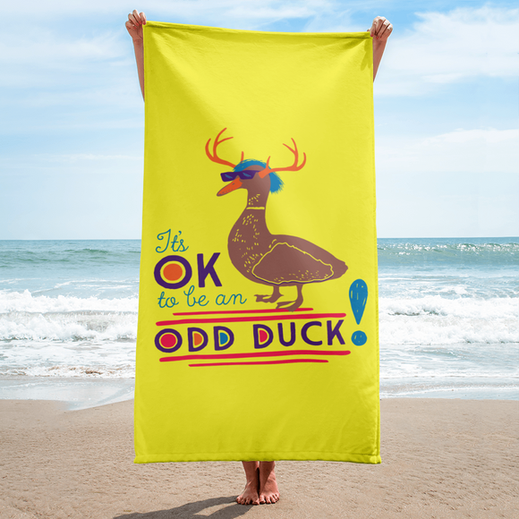 It's OK to be an Odd Duck! Beach Towel (Men's Colors)