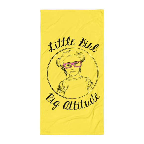 beach towel Little Girl Big Attitude Raising Dion Esperanza fan Netflix Sammi Haney wheelchair pink glasses sass sassy disability osteogenesis imperfecta
