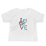 baby Shirt showing love for the special needs community heart disability wheelchair diversity awareness acceptance disabilities inclusivity inclusion