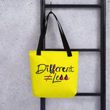 Different Does Not Equal Less (As Seen on Netflix's Raising Dion) Yellow Tote bag