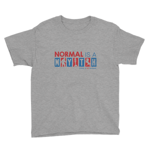 youth shirt normal is a myth big foot mermaid unicorn peer pressure popularity disability special needs awareness inclusivity acceptance activism
