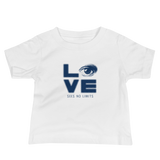baby Shirt love sees no limits halftone eye luv heart disability special needs expectations future