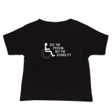 baby shirt see the person not the disability wheelchair inclusion inclusivity acceptance special needs awareness diversity