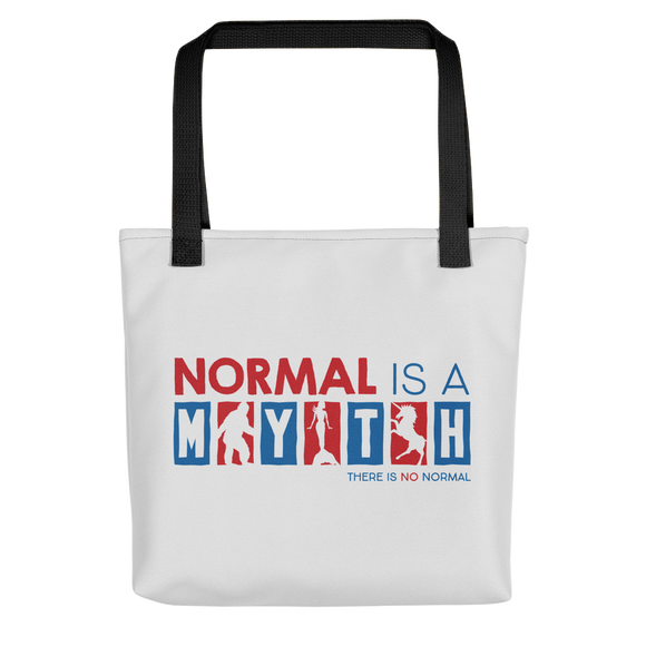 tote bag normal is a myth big foot mermaid unicorn peer pressure popularity disability special needs awareness inclusivity acceptance activism