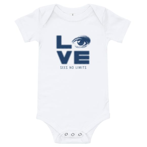 baby onesie babysuit bodysuit love sees no limits halftone eye luv heart disability special needs expectations future
