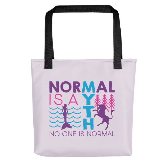 tote bag normal is a myth mermaid unicorn peer pressure popularity disability special needs awareness inclusivity acceptance