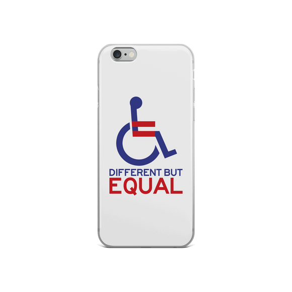 iPhone Case different but equal disability logo equal rights discrimination prejudice ableism special needs awareness diversity wheelchair inclusion acceptance